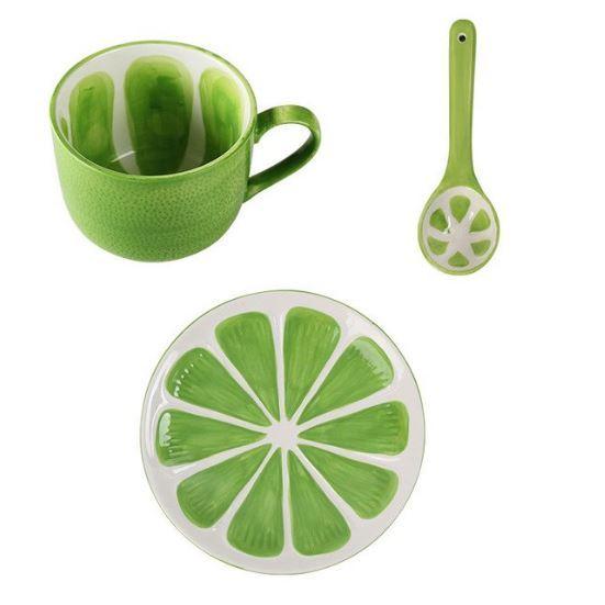 Green lemon mug   spoon   saucer