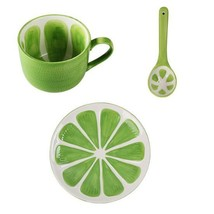 Green Lemon Mug Fruit Mug Ceramic Coffee Milk Tea Cup + Spoon + Saucer - $59.95