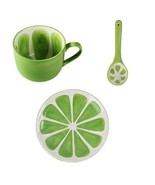 Green Lemon Mug Fruit Mug Ceramic Coffee Milk Tea Cup + Spoon + Saucer - $59.95