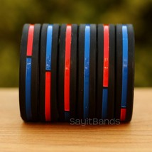 Set of CHILD Combined Thin Red & Blue Line Wristbands - Firefighter Poli... - $4.93+