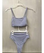 H&M Bikini Top Bottom Woman's Set Blue White Striped Summer Swim Suit NW... - $28.95