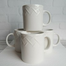 "Set of 4 Picnic by Oneida White Coffee Mug Cup Embossed Basket Weave 3.75"" - $24.99"