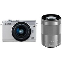 CANON EOS M100 Mirrorless Camera Double Zoom Lens Kit White Japan Version New - $632.07