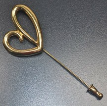 Signed Monet Gold Tone Open Script Heart Stick Pin Hat Lapel - $10.66