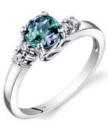 14K White Gold 1 Carat Created Alexandrite & Diamond Ring - $379.99