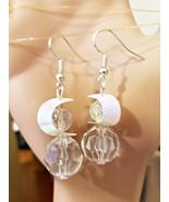 moon sequin drop dangle earrings handmade acrylic crystal bead jewelry  - $5.99
