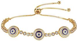 Kaletine Blue Evil Eyes Tennis Bracelet Sterling Silver Cubic Zirconia C... - $72.64