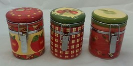 Susan Wignet Hinged Canister Sealable Jars Apple Honey Bee Plaid  Rare 4... - $47.85