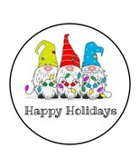 """30 HAPPY HOLIDAYS GNOMES ENVELOPE SEALS LABELS STICKERS 1.5"""" ROUND FAVOR... - $4.99"""