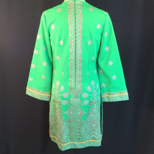 Vtg Green Alfred Shaheen Exotic Mod Tunic Dress Signed Print MCM Polypop S/M