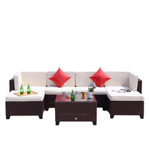 7 PC Patio PE Wicker Furniture Sectional Set Outdoor Garden Sofa Cocoa B... - $499.99