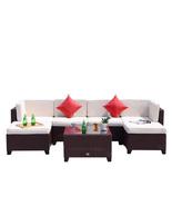 7 PC Patio PE Wicker Furniture Sectional Set Outdoor Garden Sofa Cocoa B... - $499.99