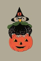 Wise Owl and Jack-O-Lantern - Art Print - $19.99+