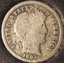 1893-S Silver Barber Dime Low Mintage #0124 - $14.79