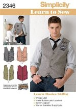 Simplicity Sewing Pattern 2346 Men's Vests, AA (34-36-38-40-42) - $13.48