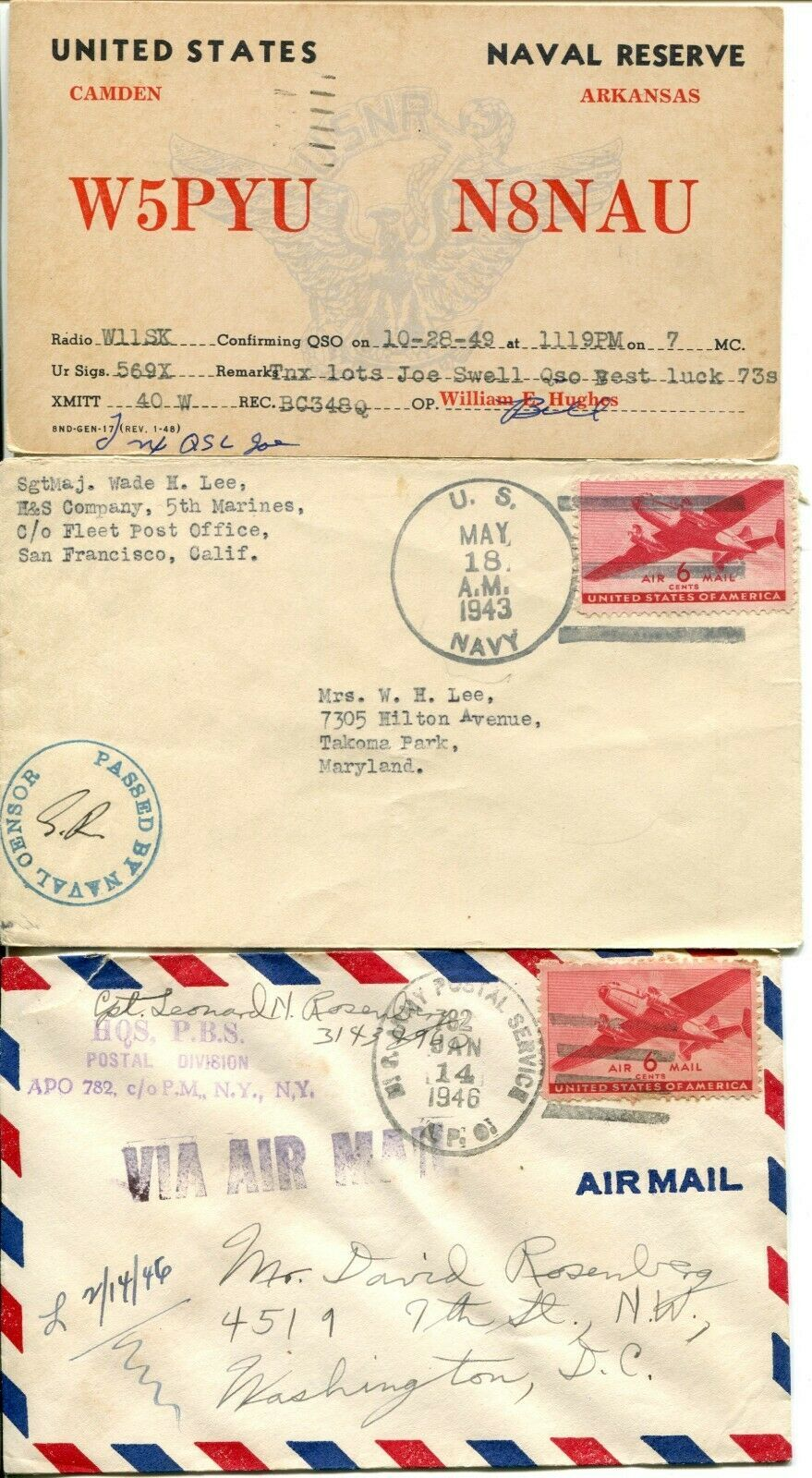 US Army Airmail WWII APO Navy Military Cover Examined Postage Collection  image 2