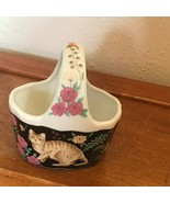 Vintage Made in Japan Small Black w Pink Flowers & Brown Tabby Kitty Cat... - $11.29
