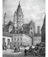 GERMANY Mainz Main Square & Cathedral  - SUPERB 1843 Lithograph  Print - $49.50