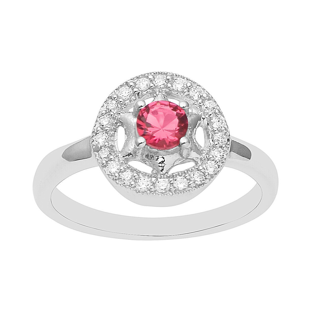 Primary image for Cubic Zirconia Gemstone Women Wedding Ring Halo Style CZ 925 Sterling Silver