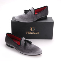 FERUCCI Gray custom-made Velvet Slippers loafers with Black   tassel - $149.99