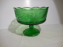 E O Brody Green Footed Compote, Candy DIsh, Vase, Planter   M 6000 - $9.99