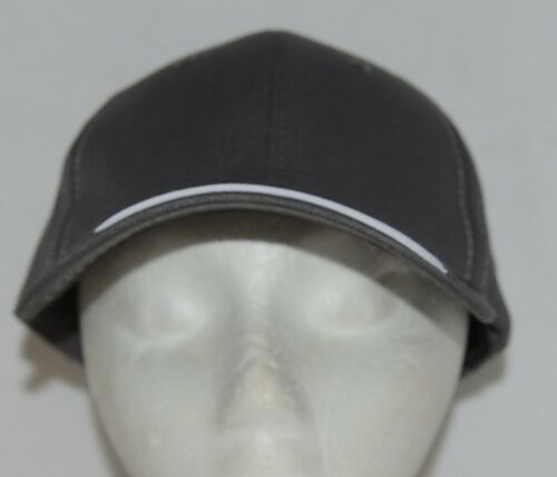 OC Sports BTP 100 Twill Cotton Cap Grey Visor Piping Accent White Adult
