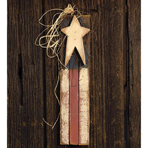Patriotic SKINNY VERTICAL LATH AMERICAN FLAG Country Primitive Farmhouse... - $43.99