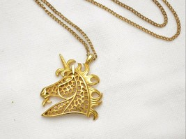 Vintage UNICORN pendant necklace 1960's large signed filigree design groovy - $22.76