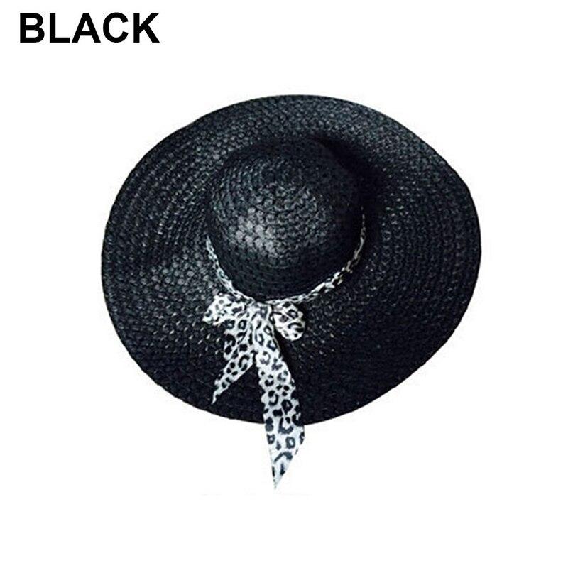 NEW 2019 Bowknot Flat Straw Beach Hat Women Floppy Fashion Lady Fold Wide Brim D image 2