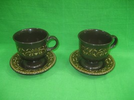 Franciscan Ware Jamoca Coffee Cup & Saucers ~ Set of Two ~ Brown Gold Sc... - $13.96