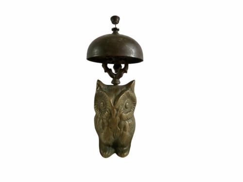 Vintage Hotel Motel Front Desk Solid Brass Owl Bellhop Service Clerk Bell