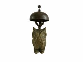 Vintage Hotel Motel Front Desk Solid Brass Owl Bellhop Service Clerk Bell image 1