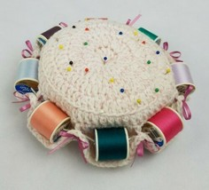 Vintage handmade pin cushion spools holder crochet - $24.75