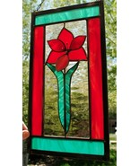 Stained Glass Window Abstract Panel flower red champagne teal green  - $54.45