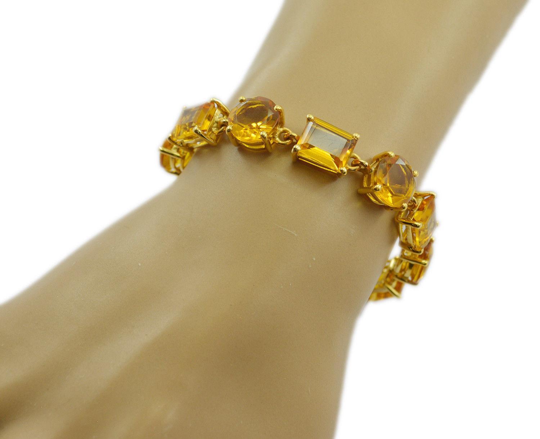 pleasing Citrine CZ Gold Plated Yellow Bracelet genuine ordinary US gift