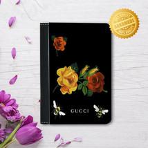 Leather Passport Cover - Passport Holder - Flowers heart 2 - $15.74