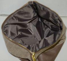 WB Brand M725HRBN Herringbone Zip Pouch Zipper Closure Inside Lined image 3