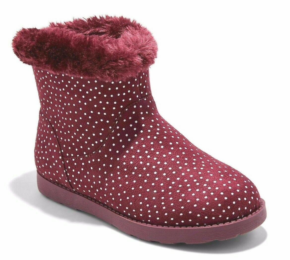 Cat & Jack Girls' Burgundy Red Silver Dots Darby Faux Fur Winter Boots