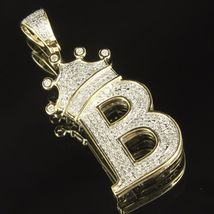 """10K Yellow Gold Plated 925 Silver Round Cut CZ Tilted Crown Initial """"B"""" Pendant - $146.99"""