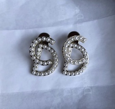 """100% Authentic Christian Dior """"Your Dior"""" CD Logo Initial Pearl Stud Earrings image 3"""