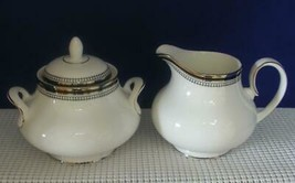 SARABANDE by Royal Doulton China CREAMER & SUGAR BOWL with LID Black Ban... - $52.37