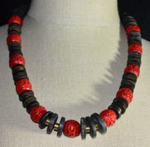 Vintage Brass Graduated Black Ostrich Bead Red Cinnabar Bead Beaded Necklace - $49.50