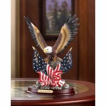 Patriotic Eagle with American Flag on Wood Base Statue Figurine - $31.63