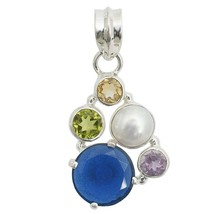 Multi-Colored Gemstone 925 Sterling Silver Pendant Fashion Jewelry - $16.27