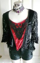 GOTH black Red  velvet long sleeved top lace detail & sleeves by dark star s/m - $37.88