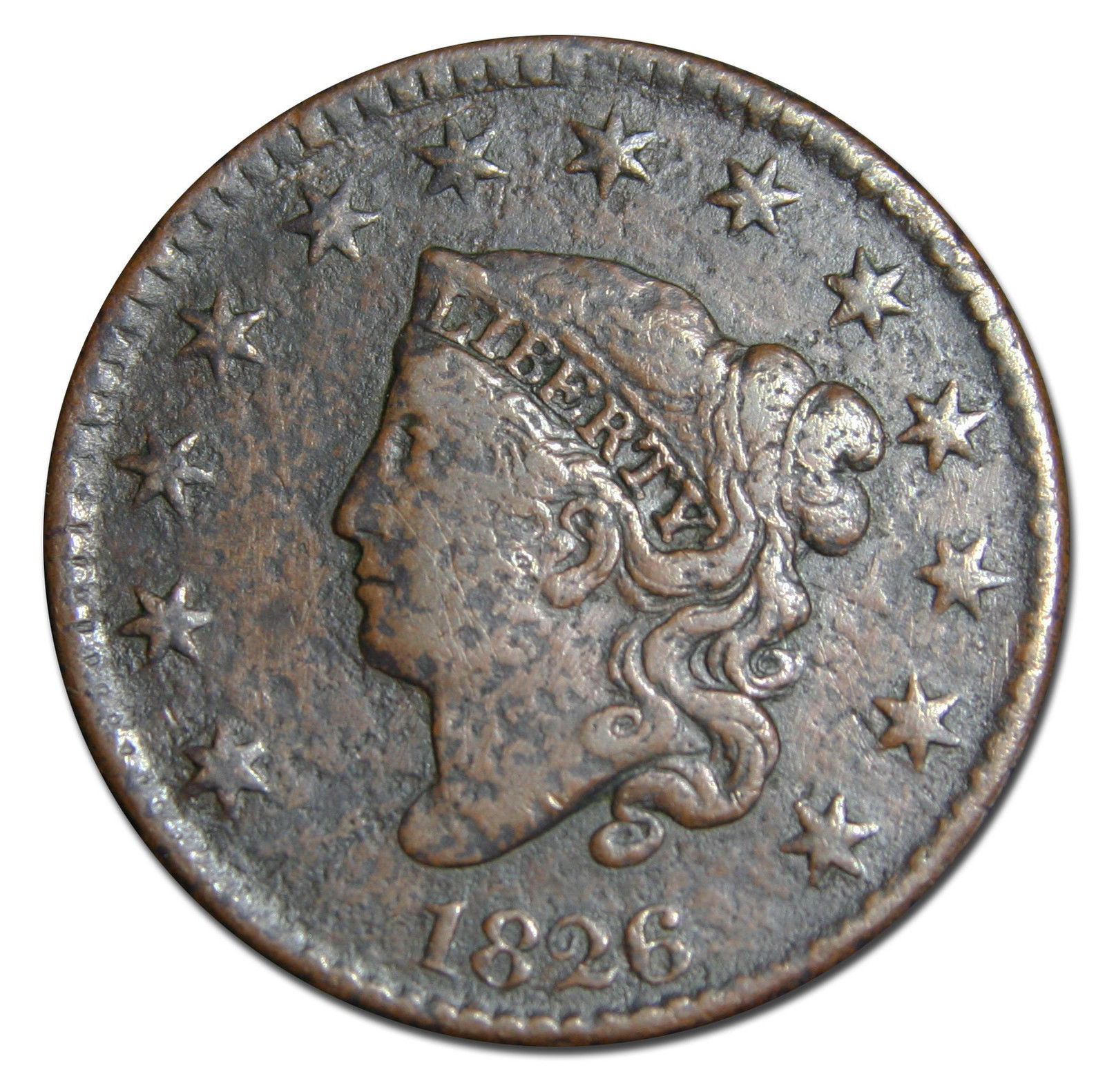 1826 Large Cent Liberty Coronet Head Coin Lot # MZ 2949