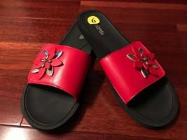 NEW Michael Kors Heidi Red Embellished Floral Slide-On Sandals sz 9M - $59.99