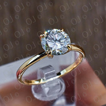 1.50CT Round Cut Diamond Solitaire Engagement Ring Solid 10K Yellow Gold - $229.99