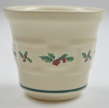 "Longaberger Pottery Holly Patern Candle Votive 2.5"" Tall Collectible Hom... - $17.99"