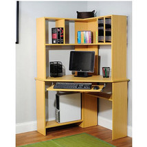 Computer Desk Corner Compact Office Table Hutch Shelves Storage Organize... - $114.83